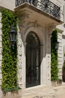 Carved Stone Entryway of the Crespi Hicks Estate Home