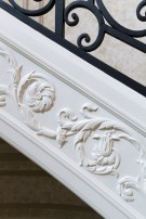 Carved Woodwork on Stairway in the Crespi Hicks Estate Home
