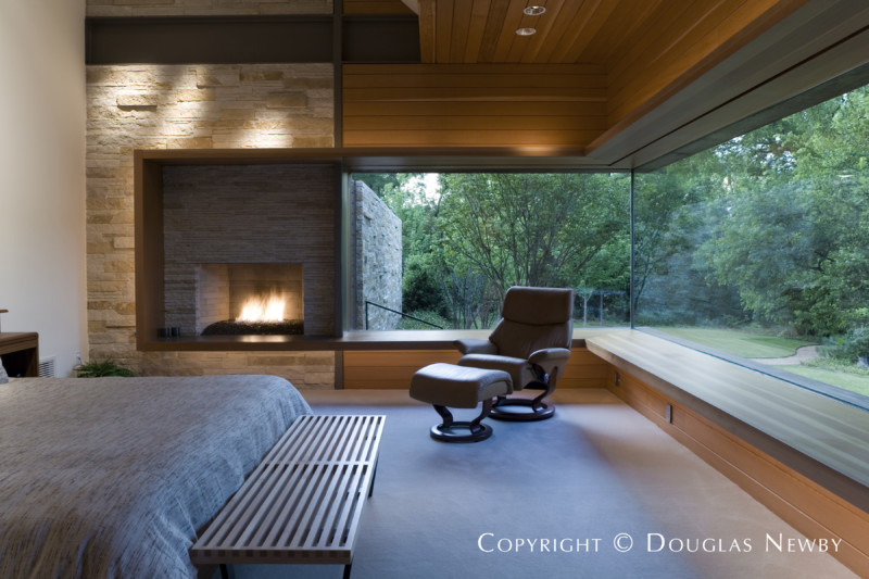 Bedroom With Open View in Ogelsby Greene Designed Home