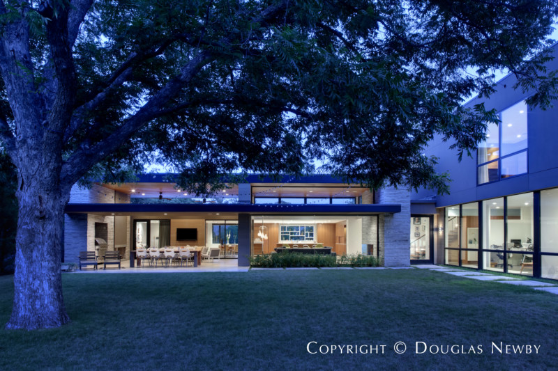 Exterior of Contemporary Home Designed by Mark Domiteaux at Dusk