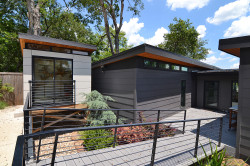 Bridge of Modern Home Links to Office and Carport